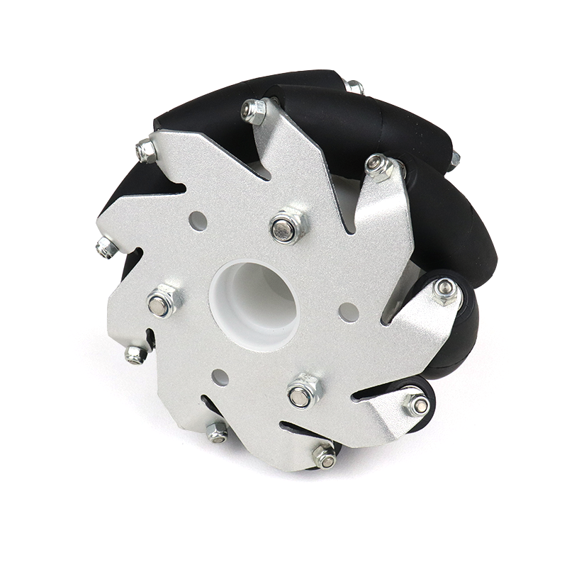 A set of 100mm Aluminium Mecanum wheels (Bearing type rollers) (4 pieces)