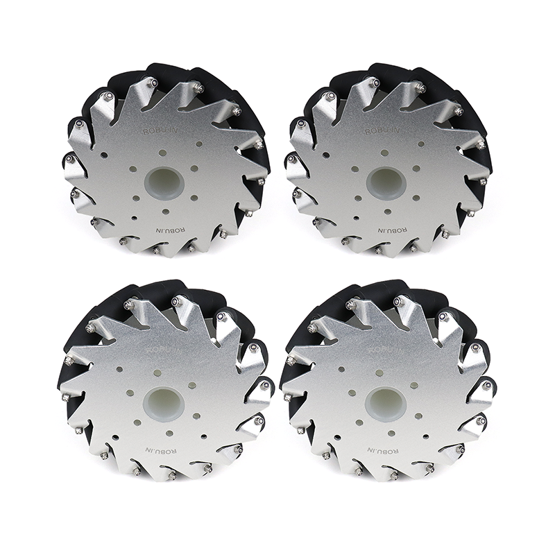 A set of EasyMech 152mm Aluminium Mecanum wheels (Bearing type rollers)-(4 pieces)