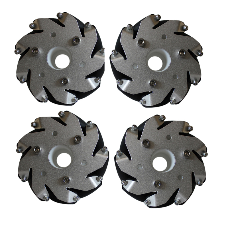100mm Aluminium Mecanum Bearing Rollers Wheels Set (2-Left & 2_Right) -4 pieces