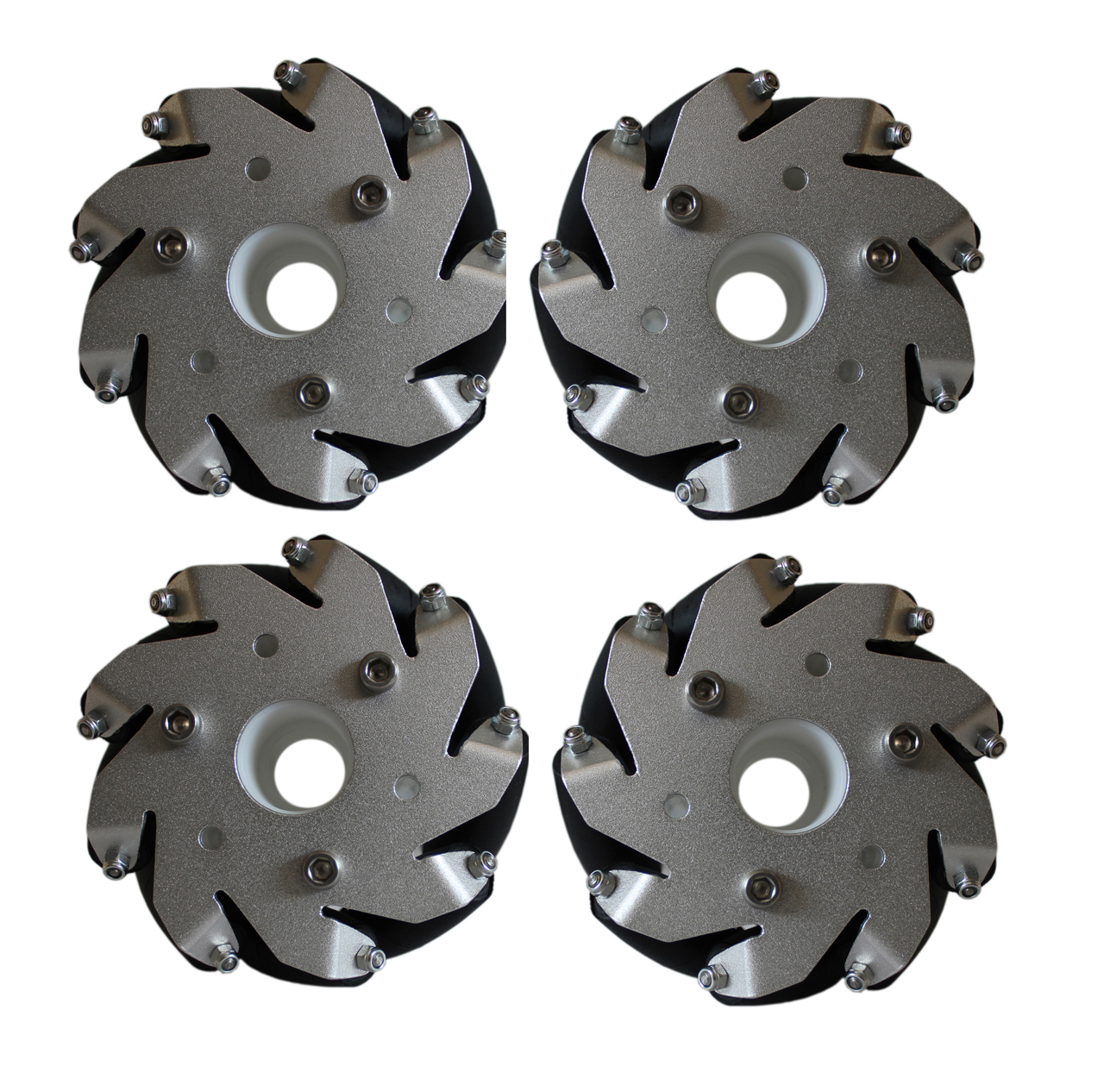 100mm Aluminium Mecanum Bearing Rollers Wheels Set (2-Left & 2_Right) -4 pieces