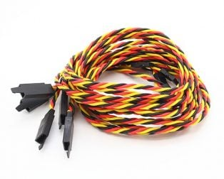 SafeConnect Twisted 60CM 22AWG Servo Lead Extention (JR) Cable with Hook - 1PCS (ROBU.IN)