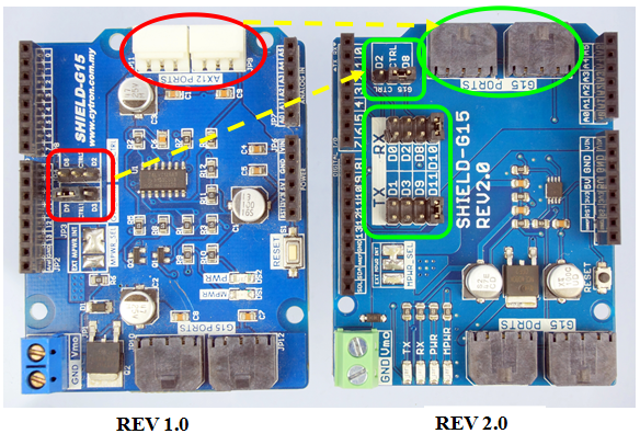 Difference between Cytron G15 Motor Driver Shield v1.0 and v2.0 - ROBU.IN
