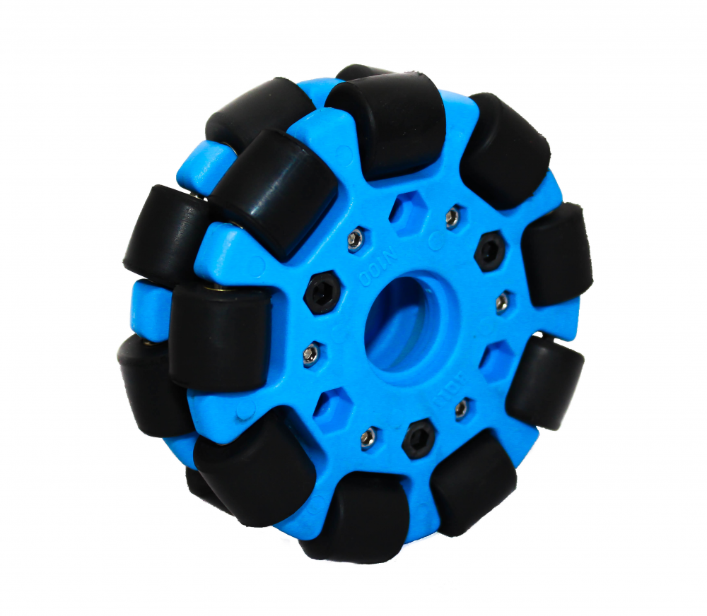EasyMech 100mm Double Glass Fiber Omni Wheel With bush Rollers Blue High Quality