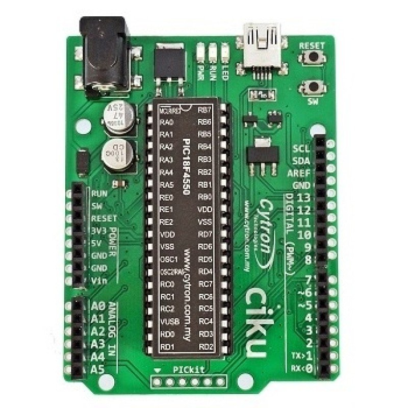 CIKU PIC PIC18F4550 based Arduino form factor starter kit