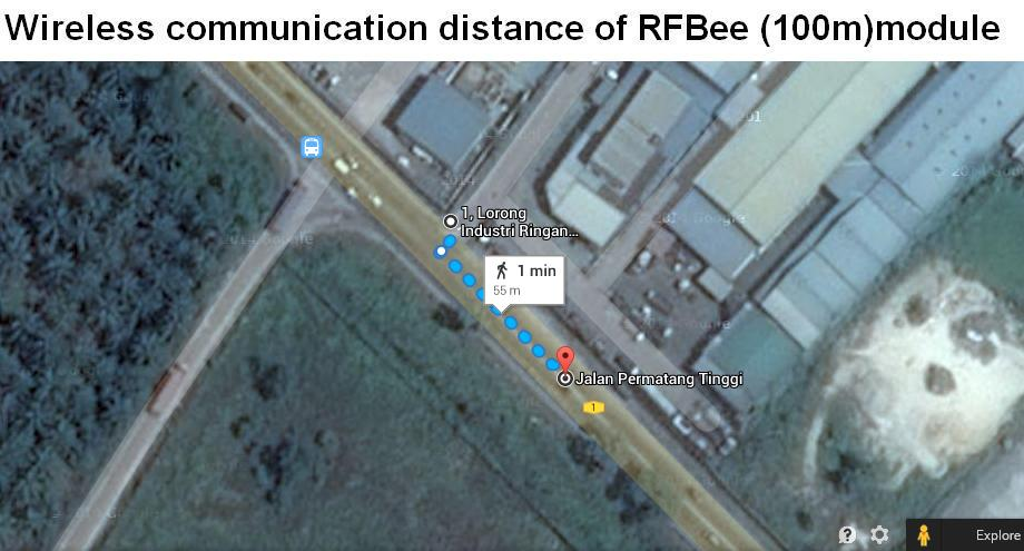 Demo the wireless communication distance for RFBee, both