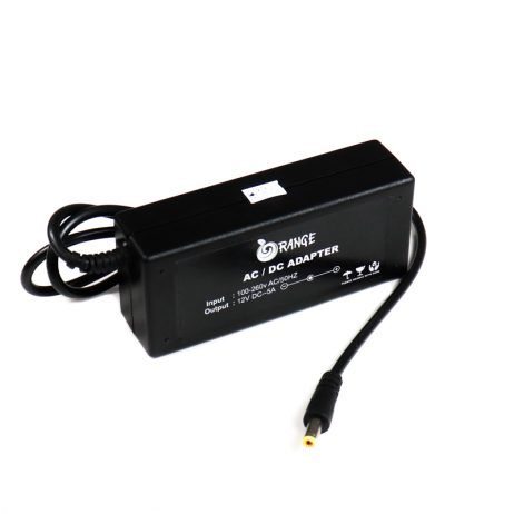 Orange AC 100-240V to DC 12V 5A 60W Power Adapter
