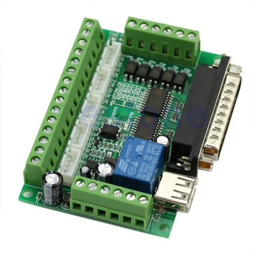 MACH3 Interface Board CNC 5 Axis with Optocoupler for Stepper Motor Driver and USB cable