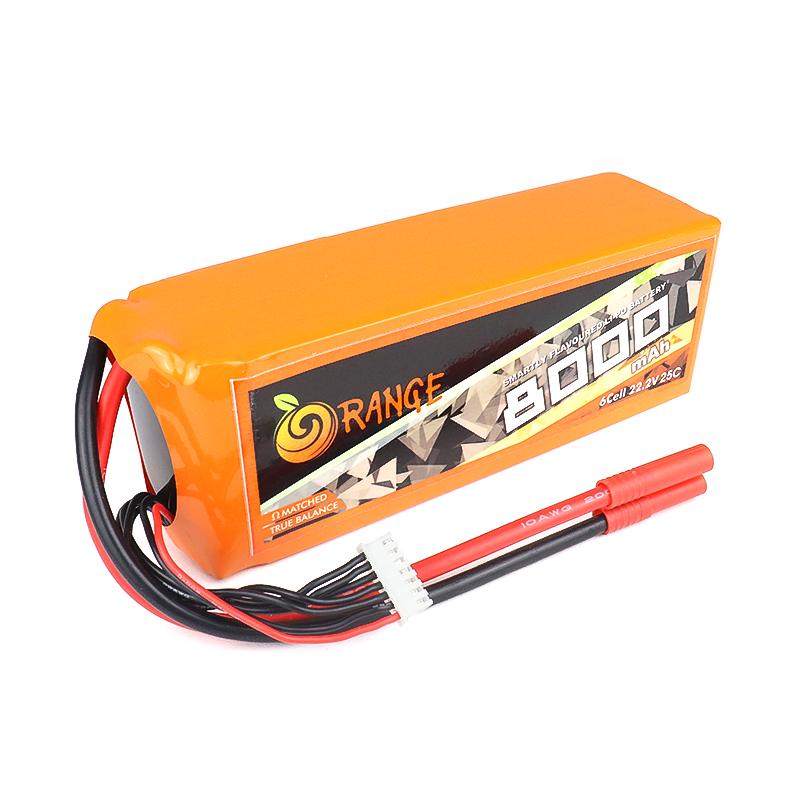 Orange 8000mAh 6S 25C/50C Lithium polymer battery Pack (LiPo)
