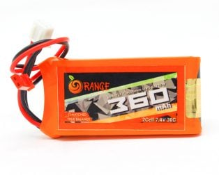 ORANGE 360MAH 2S 30C60C LITHIUM POLYMER BATTERY PACK (LIPO)-ROBU.IN