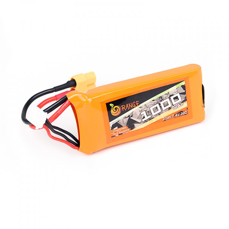 Orange 1000mah 2S 30C/60C Lithium Polymer Battery Pack (LiPo)