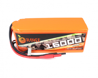 Orange 16000mAh 6S 25C/50C Lithium Polymer Battery Pack (LiPo)