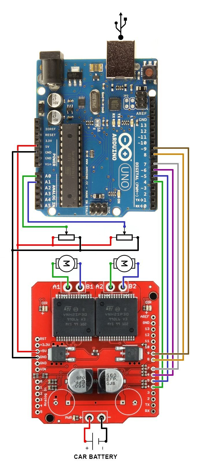 Dual Monster Moto Shield Vnh2sp30 Dc Motor Driver 2x14a