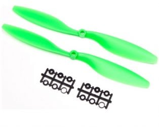 Orange HD Propellers 1038(10X3.8) ABS Props 1CW+1CCW-1pair Green (Robu.in)