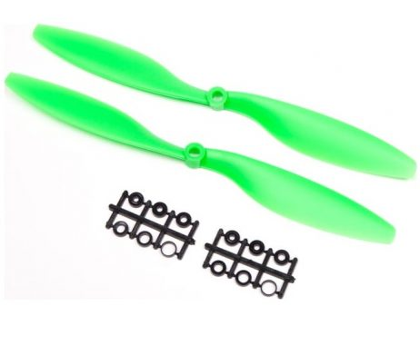 TheOrange HD Propellers 1045(10X4.5) ABS Props 1CW+1CCW-1pair Green arehigh qualityRobu.inpropellers especially designed for multi copters. Orange HD Propellers 1045(10X4.5) ABS Props has 15 degree angle design in the end of the propeller to avoid whirlpool multi copter flying. The Orange HD Propellers 1045 (Robu.in)