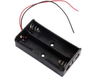 Black Plastic Storage Box Case Holder For Battery 2 x 18650 Cell Box, without cover (Robu.in)