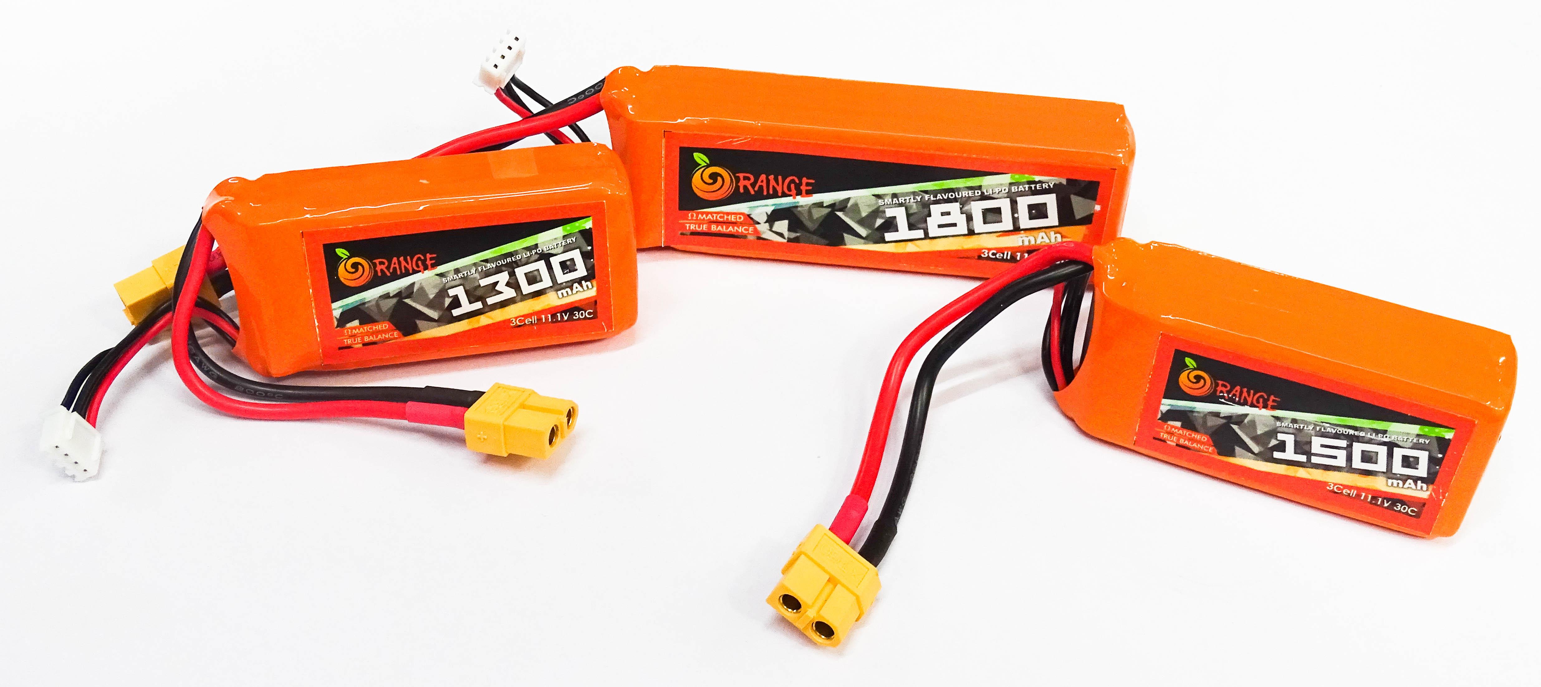ORANGE 1800mAh 3S 30C (11.1 v) Lithium Polymer Battery Pack (LiPo)