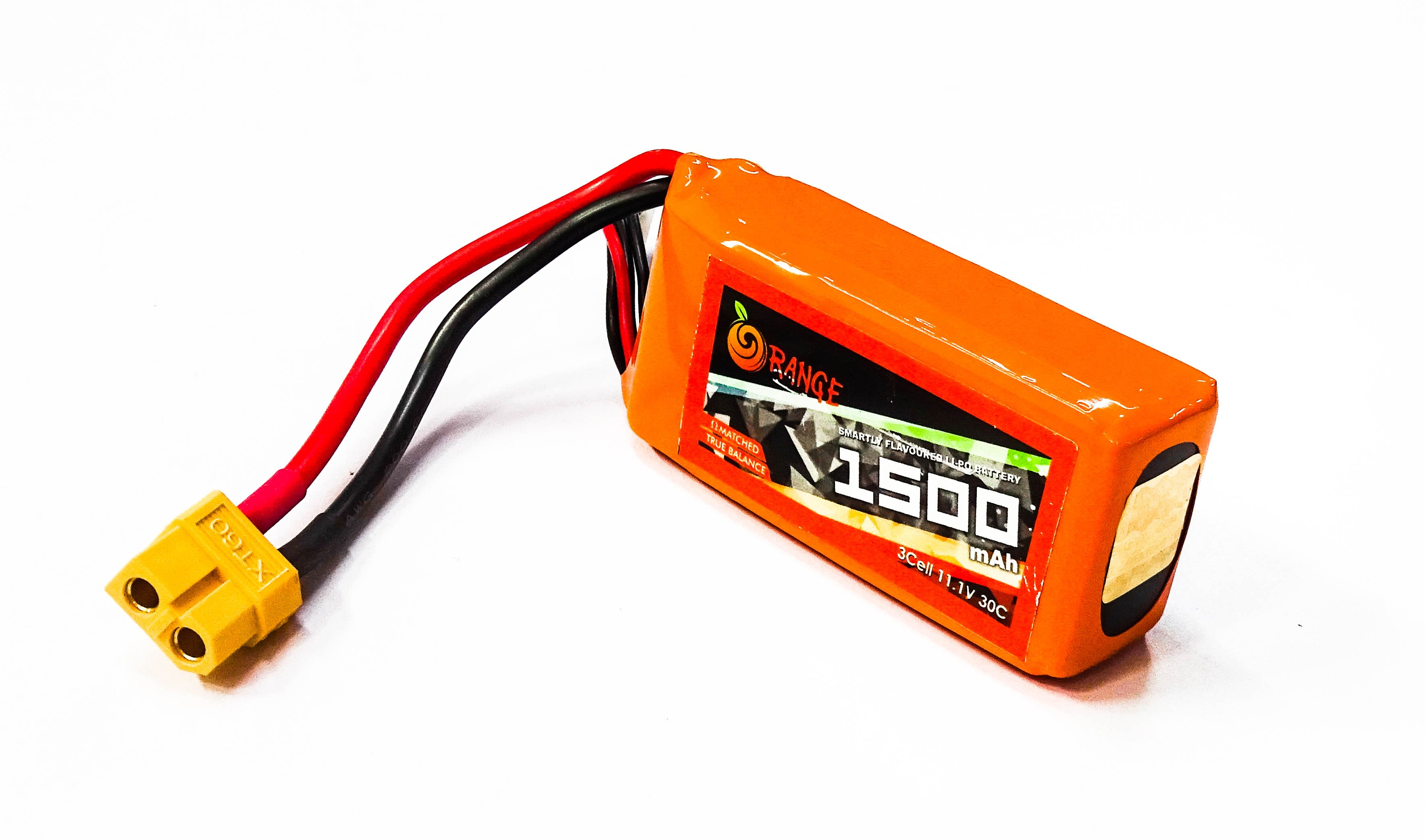 ORANGE 1500mAh 3S 30C (11.1 v) Lithium Polymer Battery Pack (LiPo)ORANGE 1500mAh 3S 30C (11.1 v) Lithium Polymer Battery Pack (LiPo)