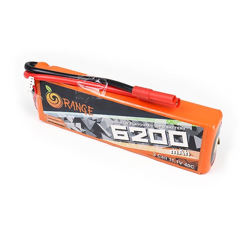 ORANGE 6200mAh 3S 40C (11.1 v) Lithium Polymer Battery Pack (LiPo)