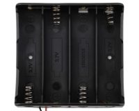 Black Plastic Storage Box Case Holder For Battery 4 x 18650 Cell Box, without cover (Robu.in)