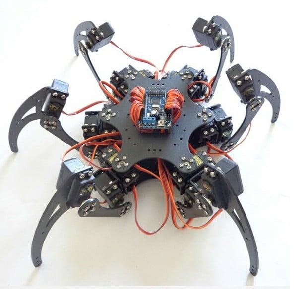 18DOF Aluminium Hexapod Spider Six 3DOF Legs Robot Frame with Servos & Servo Horn & 32CH Controller DIY