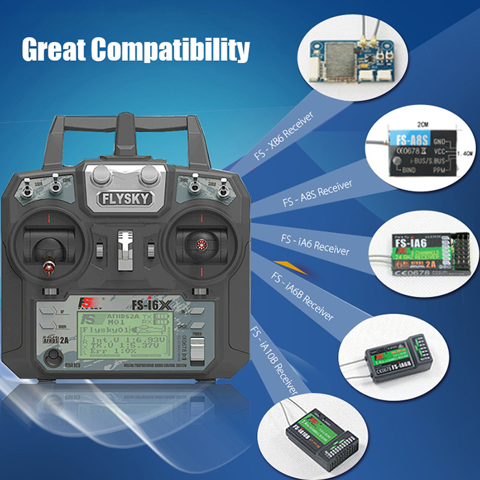 Flysky FS-i6X 2.4GHz 6CH AFHDS 2A RC Transmitter With FS-iA10B 2.4GHz 10CH Receiver