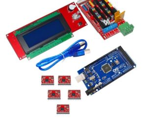 RAMPS 1.4 3D Printer Controller+Arduino Mega2560 with Cable+5Pcs A4988 Driver With Heat Sink+LCD 2004 Display Kit (Robu.in)