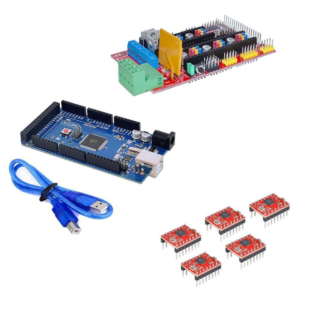 RAMPS 1 4 3D Printer controller+Mega2560 with cable compatible with Arduino  +5Pcs A4988 Driver with heat sink Kit