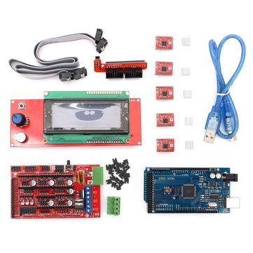 RAMPS 1.4 3D Printer Controller+Arduino Mega2560 with Cable+5Pcs A4988 Driver With Heat Sink+LCD 2004 Display Kit For Arduino Reprap