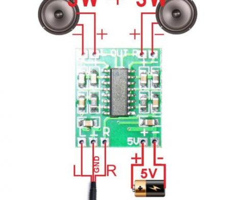 Dual channel stereo, high output power (3 w + 3 w power @ 5V and 4 ohms load). Good sound quality. Double panel wiring solves crosstalk. Super mini design allows it to be easily placed in a variety of digital products. 3W Output at 10% THD with a 4ΩLoad and 5V Power Supply. Filterless, Low Quiescent Current and Low EMI. Superior Low Noise. Short Circuit Protection. Thermal Shutdown Application : Bluetooth Stereo Audio hands-free/headsets In robots that speak or generate sounds to indicate activities Portable Speakers LCD Monitors / TV Projectors Arduino or Raspberry Pi Game Machines Speaker Phones