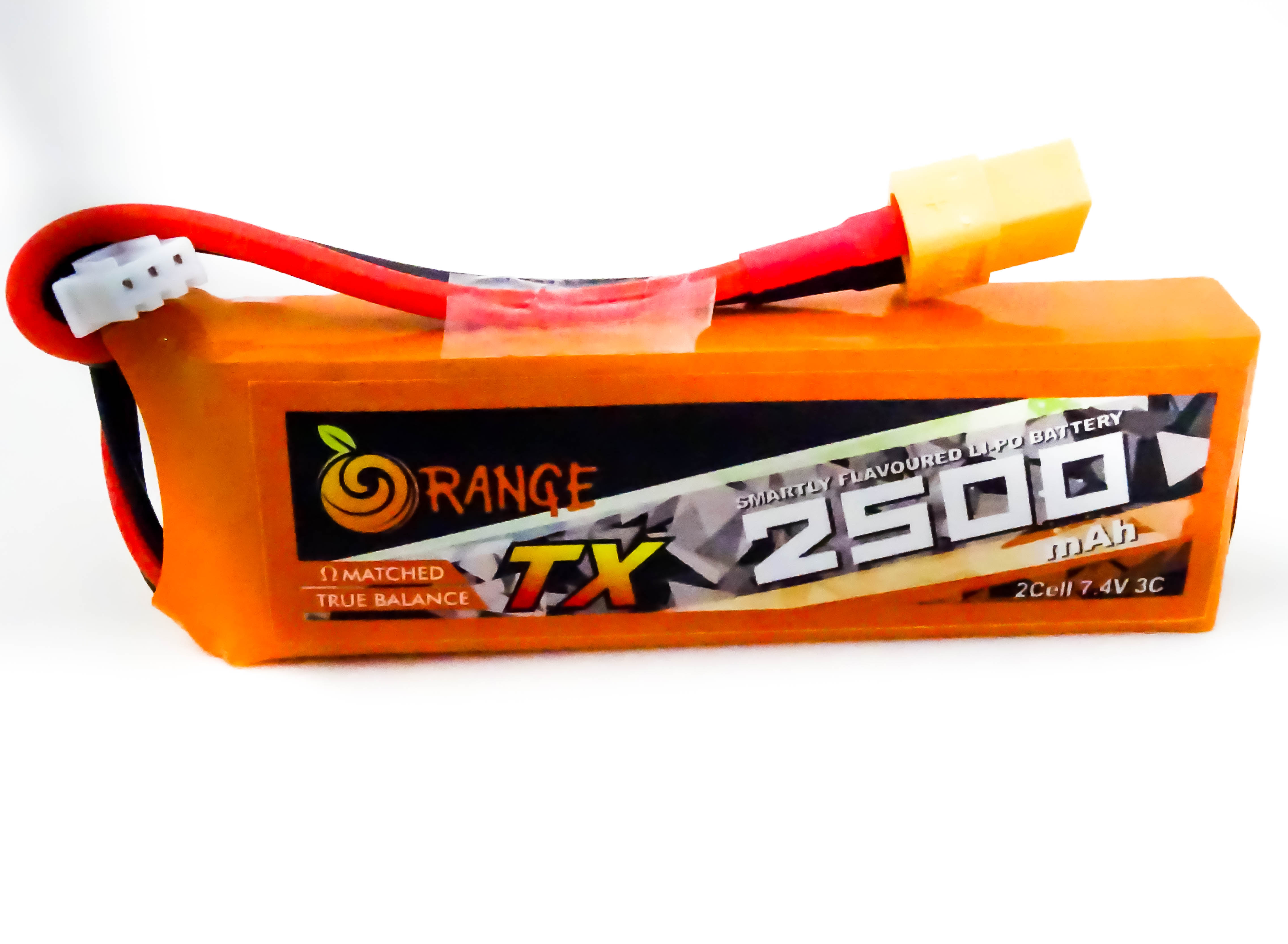 ORANGE TRANSMITTER (TX) 2500MAH 2S 3C (7.4V) LITHIUM POLYMER BATTERY PACK (LIPO)