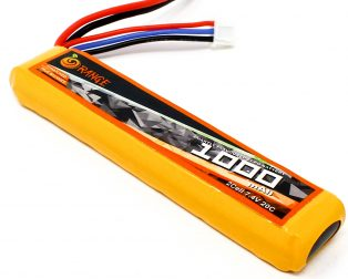 Orange 1000mAh 2S 20C40C (7.4v) Lithium Polymer Battery Pack (Lipo)