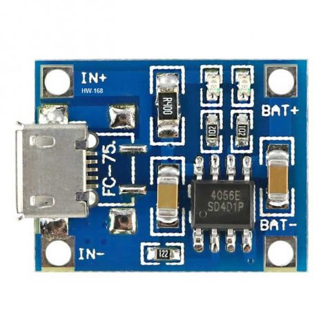 TP4056 1A Li-Ion Lithium Battery Charging Module - Micro B USB