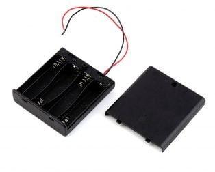 Black Plastic Storage Box Case Holder For Battery 4 X AA Cell Box with On/Off Switch and Cover (Robu.in)