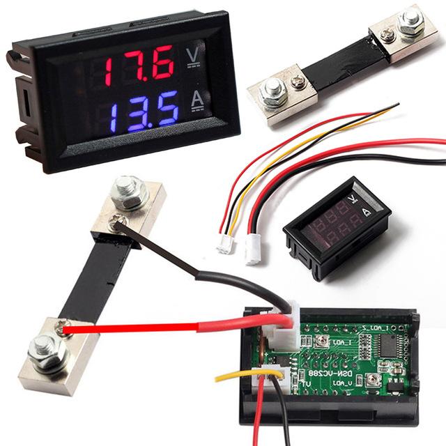 0 28 Inch Dc 100v 100a Led Digital Ammeter Voltmeter With