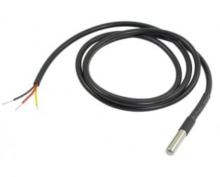 DS18B20 Water Proof Temperature Probe - Black (1m) Original Chip (Robu.in)