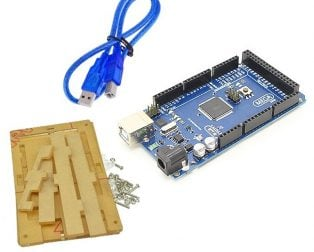Mega 2560 Atmega2560-16au compatible with Arduino + Cable + Transparent acrylic case