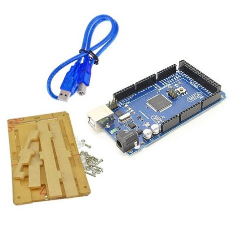 Mega 2560 Atmega2560-16au compatible with Arduino + Cable + Transparent acrylic case