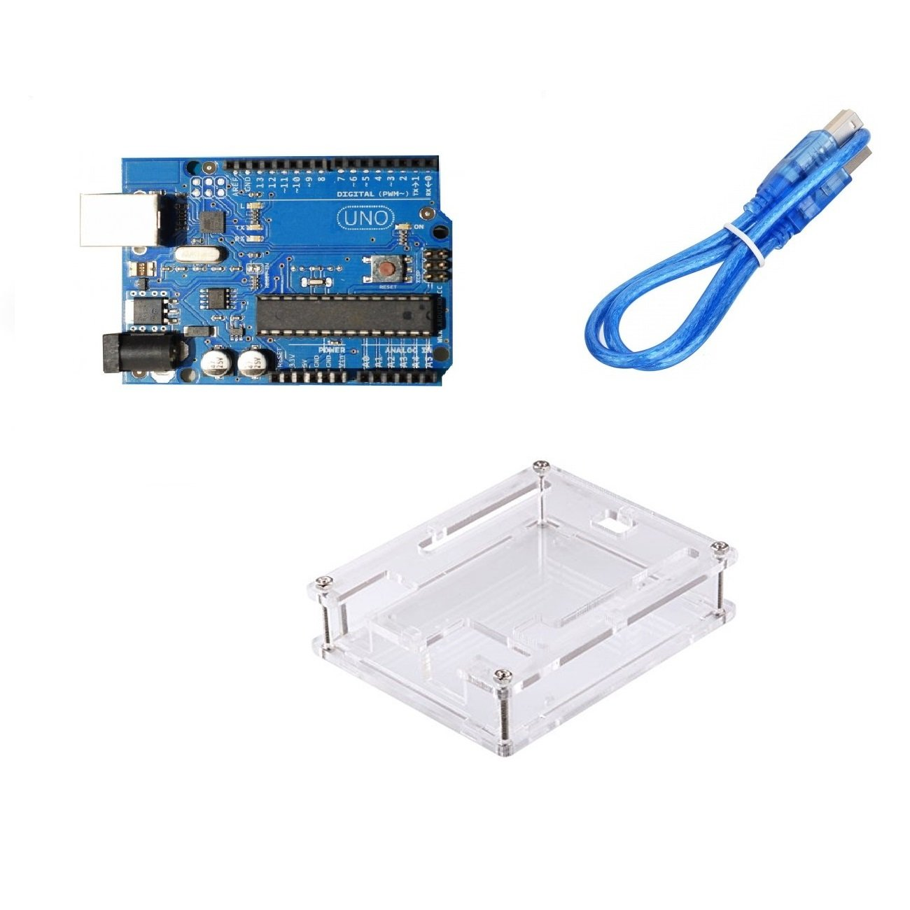 Uno R3 compatible with Arduino + Cable + Transparent acrylic case for Uno R3