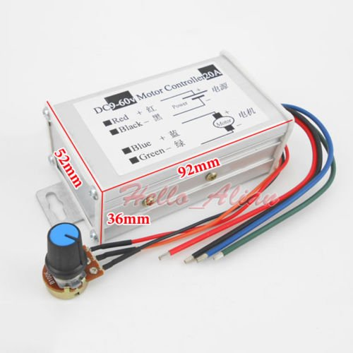 20A PWM DC Motor Speed Regulator Module (9V, 12V, 24V, 36V, 48V, 60V)