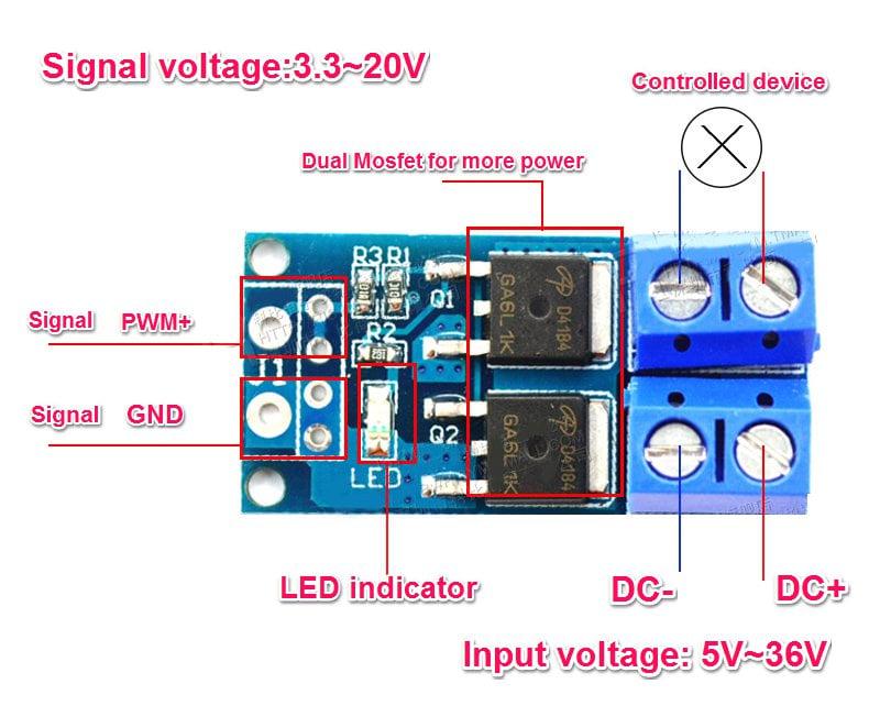 5 36v Switch Drive High Power Mosfet Trigger Module Robu
