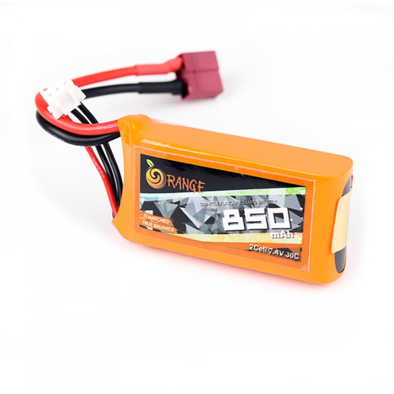 Orange 850mAh 2S 30C/60C Lithium Polymer Battery Pack (Lipo)