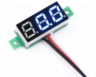 0.28inch 0-100V Three Wire DC Voltmeter Blue
