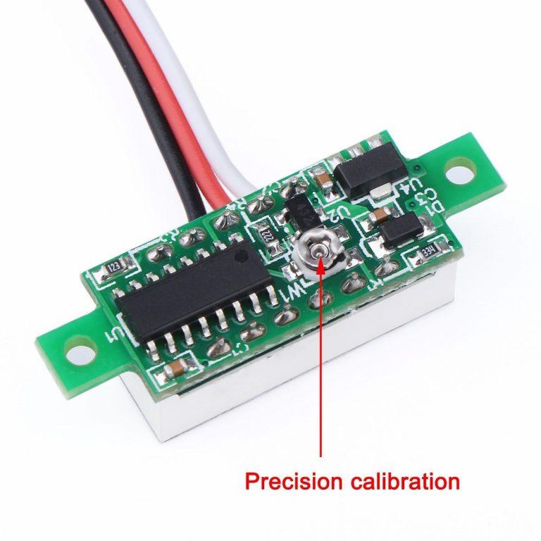 0.28inch 0-100V Three Wire DC Voltmeter Blue