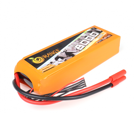ORANGE 8000 mAh 4 Cell 35C (14.8V) LITHIUM POLYMER BATTERY PACK (LiPO)