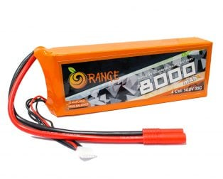 ORANGE 8000n mAh 4 Cell 35C (14.8V) LITHIUM POLYMER BATTERY PACK (LiPO)
