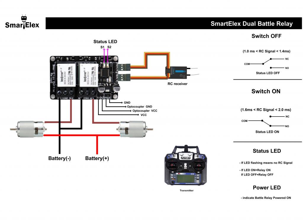 SmartElex Dual Channel Battle Relay Connection Diagram