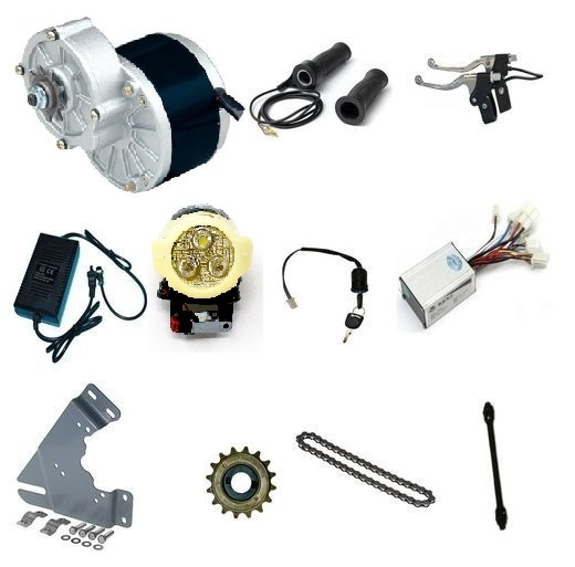 MY1016Z3 24V 350W Geared DC eBike Motor with Electric Bicycle Combo Kit