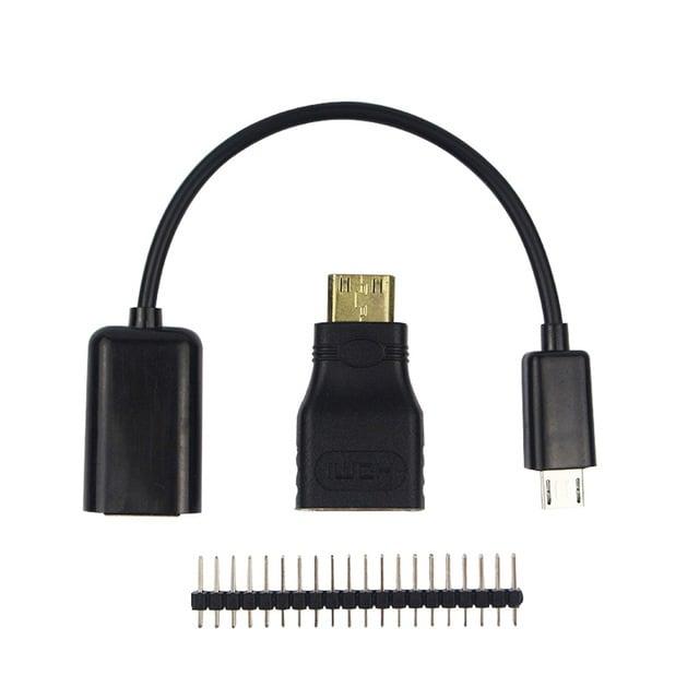 raspberry pi zero 3in1 micro usb cable+pin header+hdmi adapter