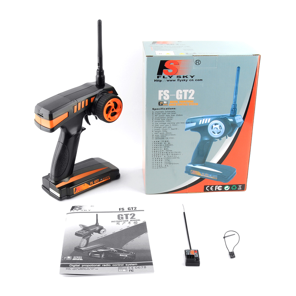 Flysky FS-GT2 Transmitter with FS-GR3E Receiver for Rc Car/Boat - Robu in    Indian Online Store   RC Hobby   Robotics