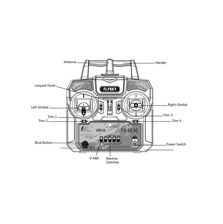 FlySky FS-i4X 2.4GHz 4CH AFHDS R/C Transmitter + FS-A6 Receiver